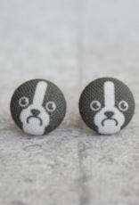 Boston Terrier Button Earrings
