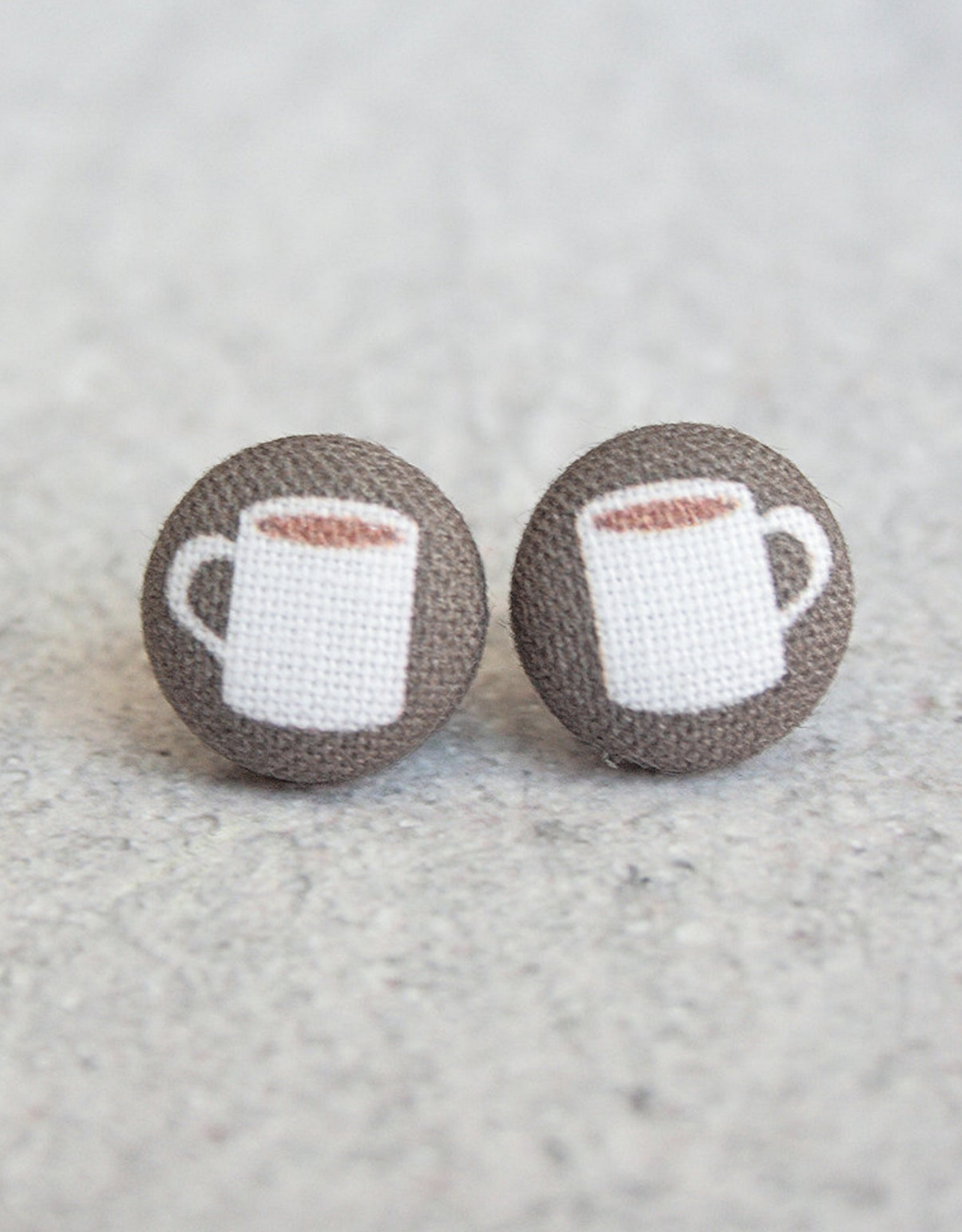 Coffee Cup Button Earrings