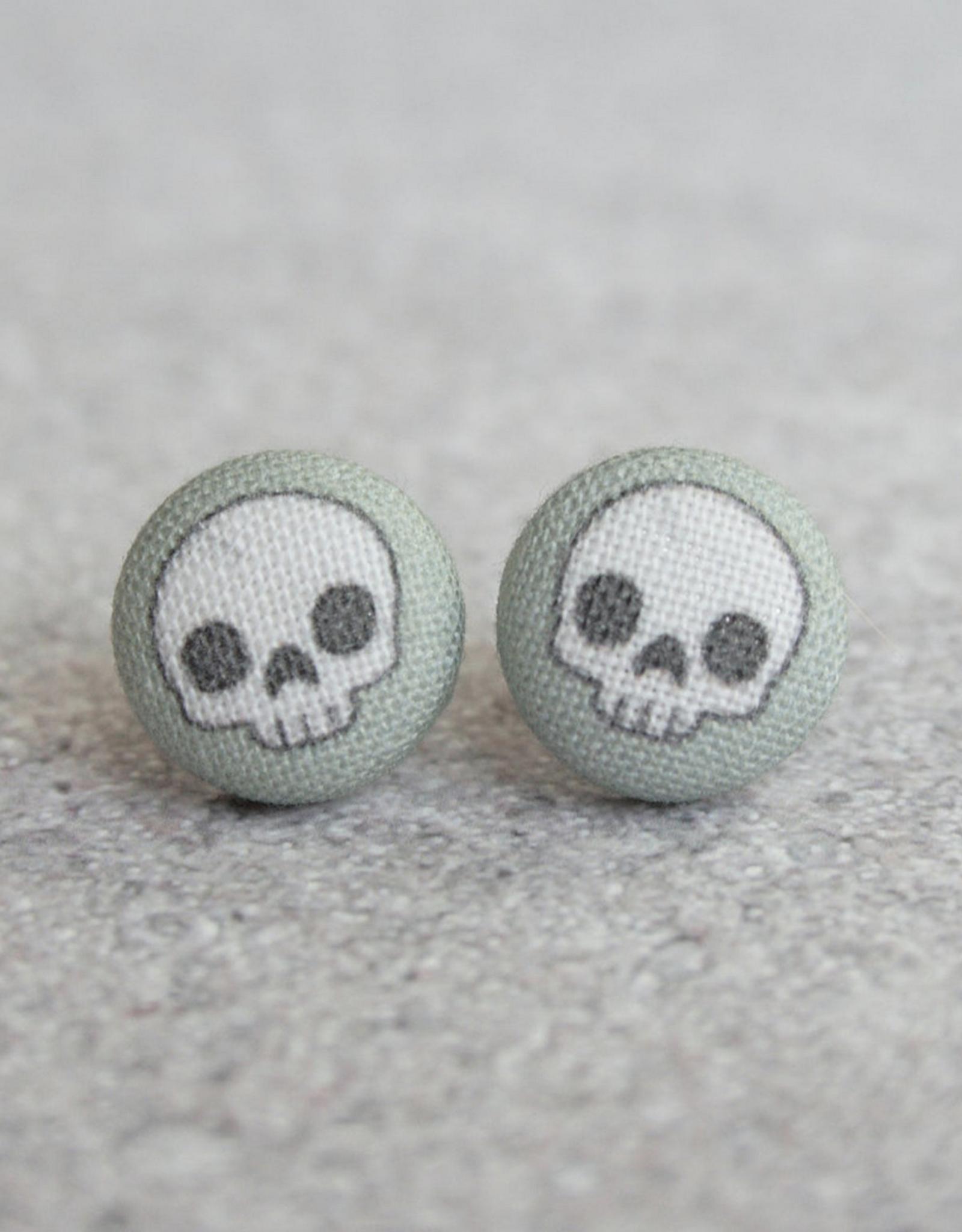 Cute Skull Grey Button Earrings