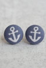 Navy Anchor Button Earrings