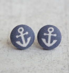 Navy Anchor Button Earrings
