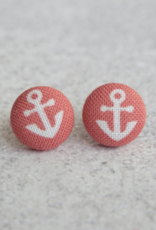 Coral Anchor Button Earrings