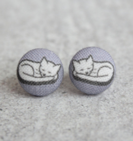 Sleepy Kitty Button Earrings