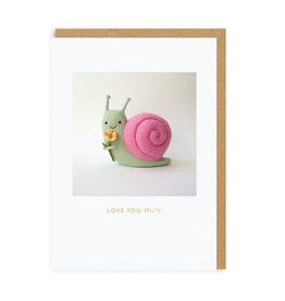 Love You Mum Snail Greeting Card