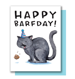 Happy Barf-Day Cat Greeting Card