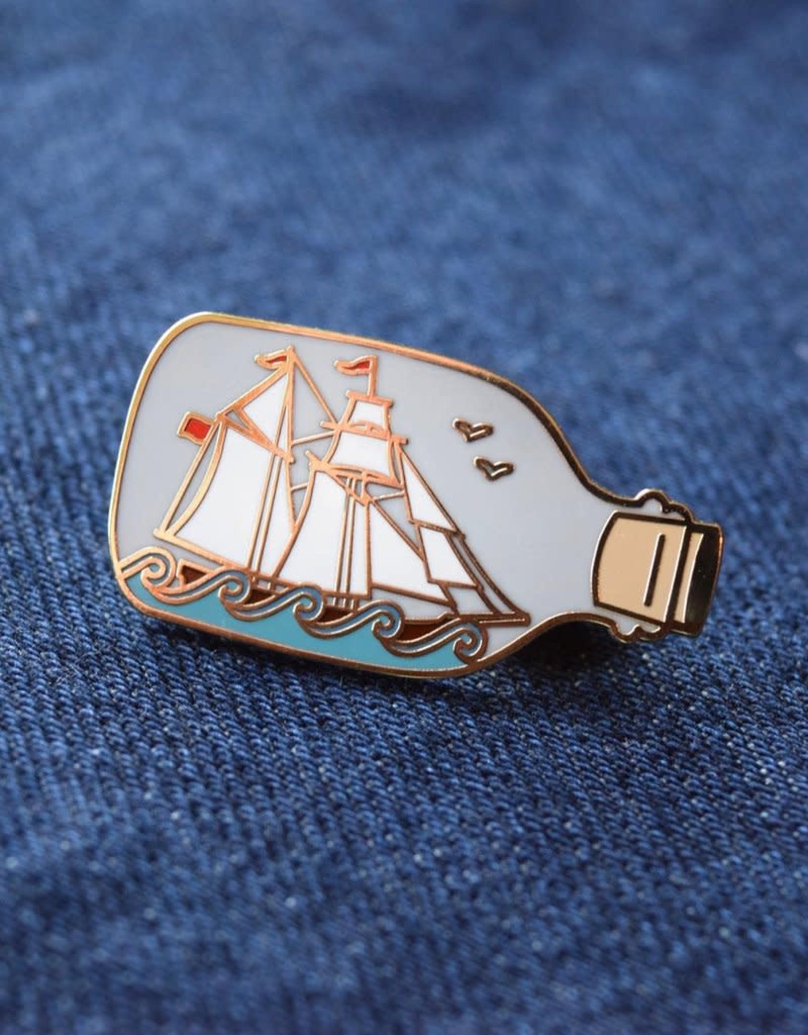 Ship in a Bottle Enamel Pin, (Quiet Tide)