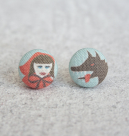 Lil' Red Riding Hood Button Earrings