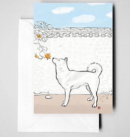 Jindo and Squash Flower Greeting Card