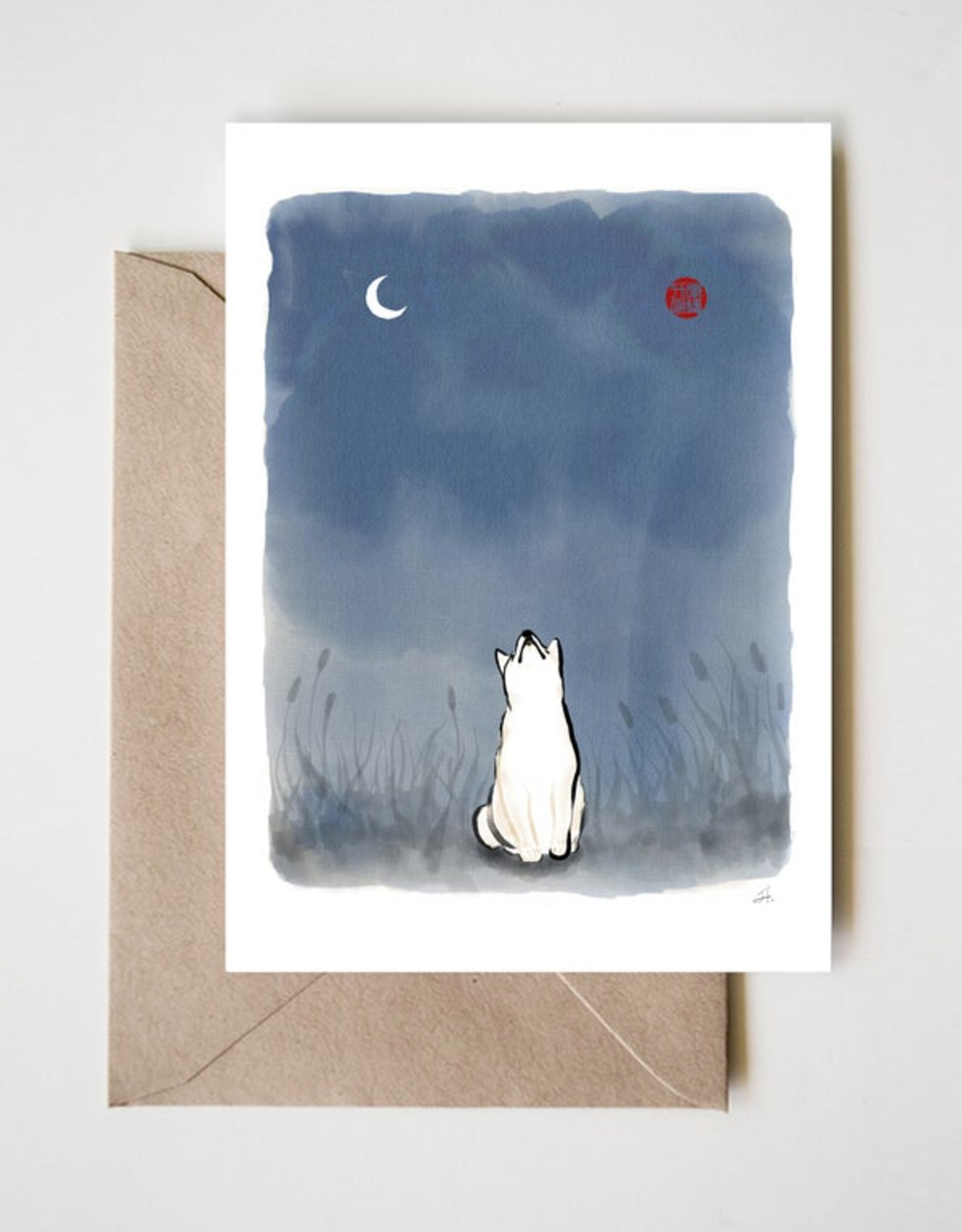 Sun and Moon Shiba Greeting Card