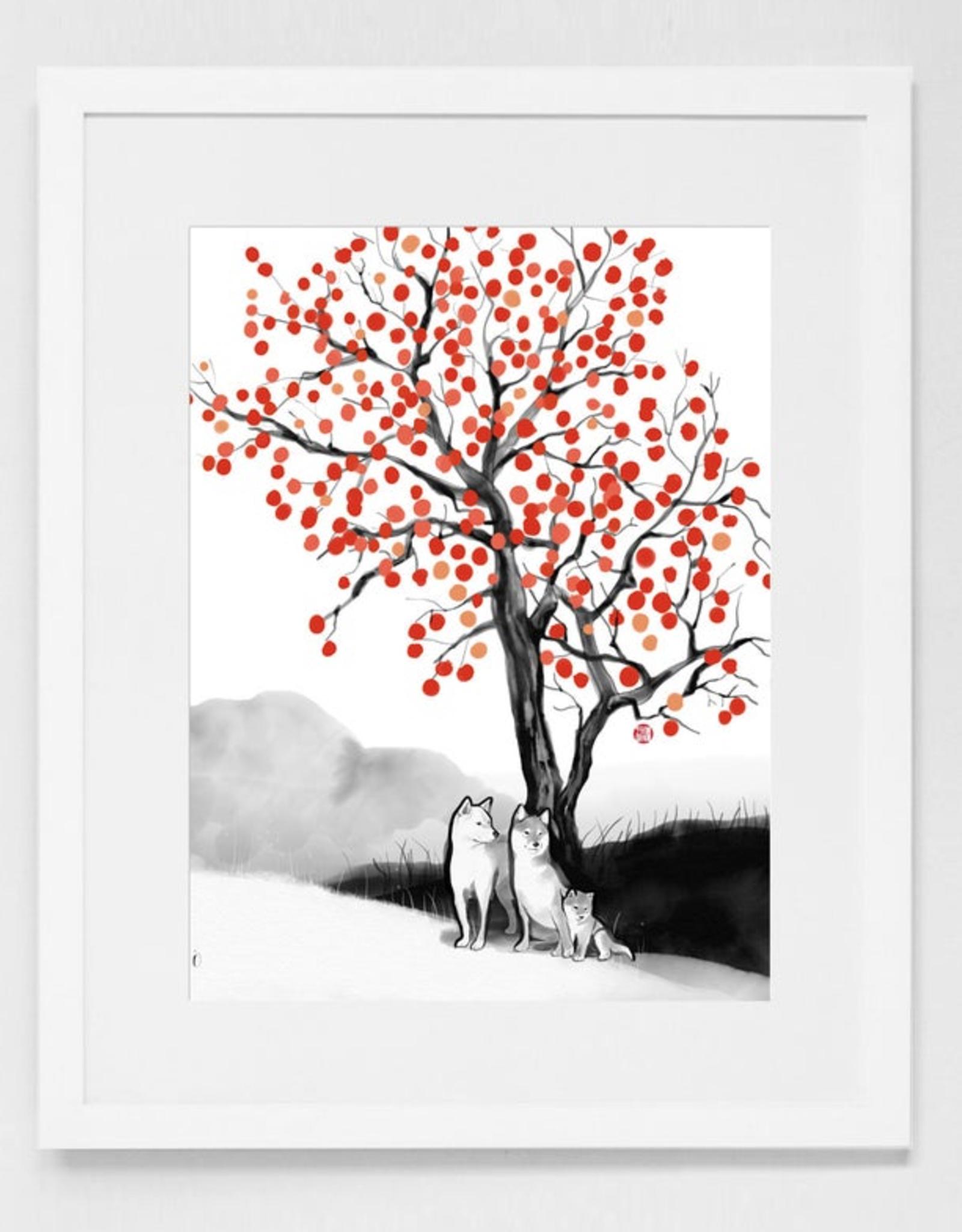 Persimmon Tree Shiba Print