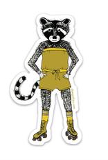 Racoon Roller Girl Sticker