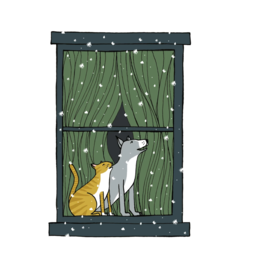 Cat and Dog in a Winter Window Print