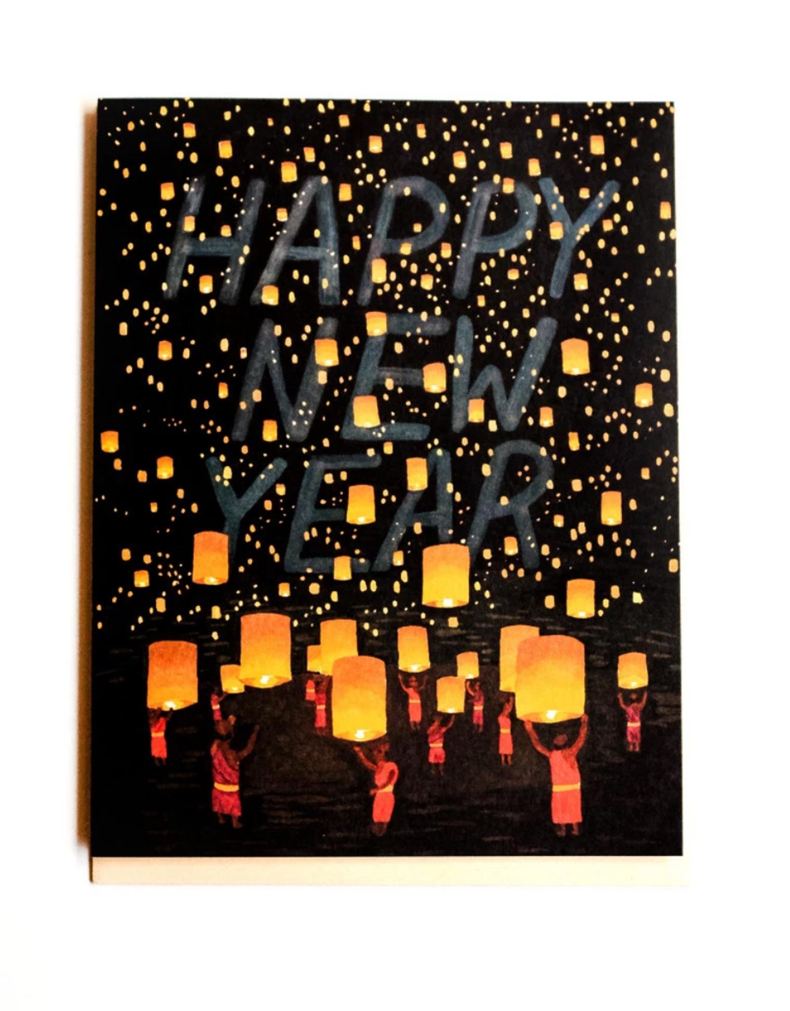 Happy New Year Thai Lanterns Greeting Card