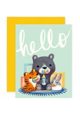 Hello New Born Animal Babies Greeting Card