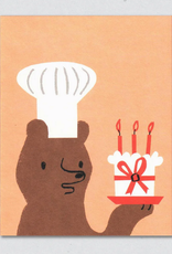 Birthday Cake Baker Bear Greeting Card