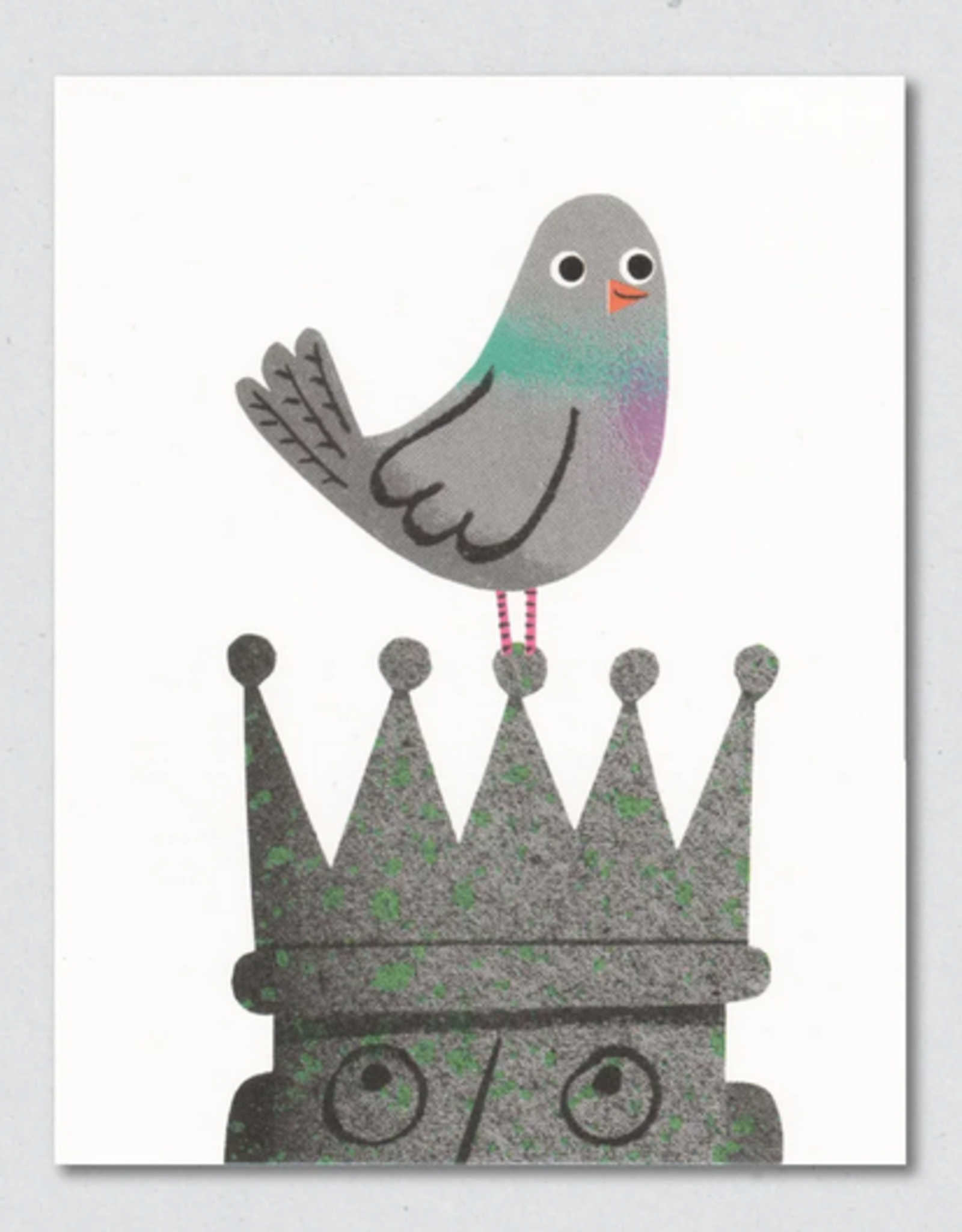 Pigeon On A Crown Greeting Card