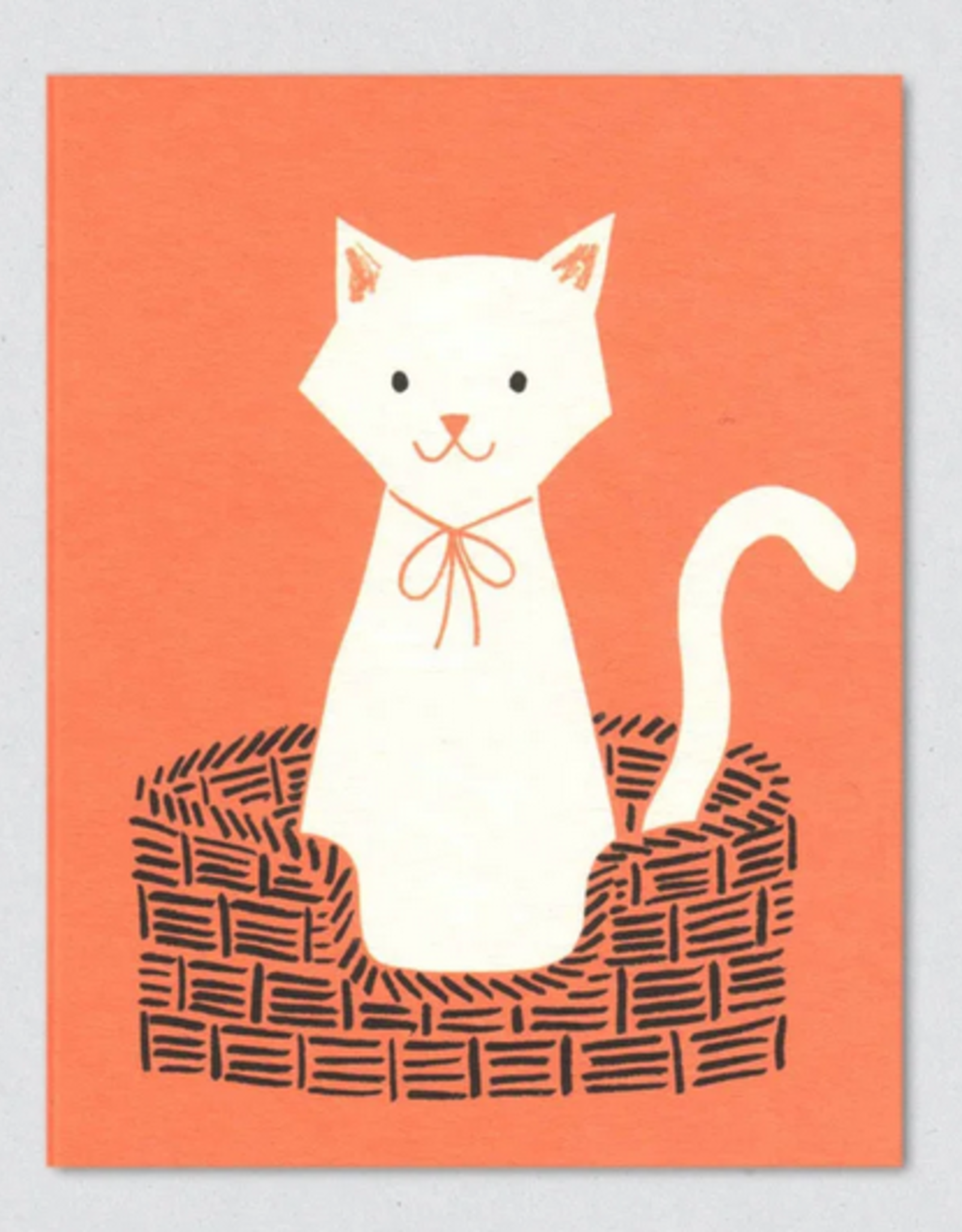 Cat In Basket Greeting Card