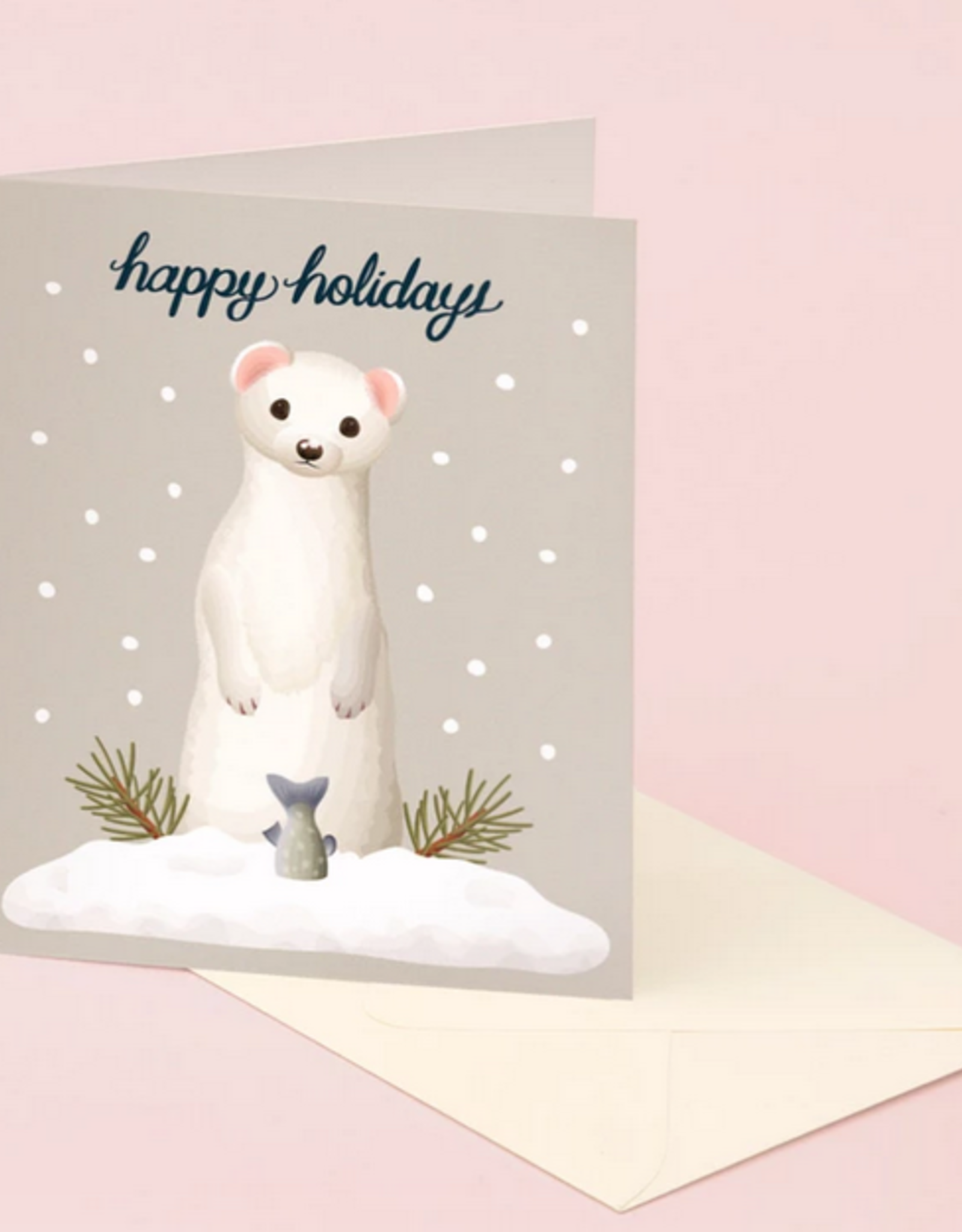 Weasel Happy Holidays Greeting Card