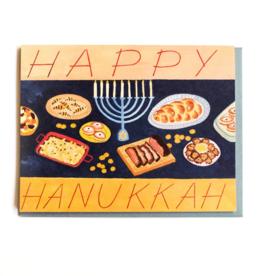 Happy Hanukkah Menorah & Feast Greeting Card