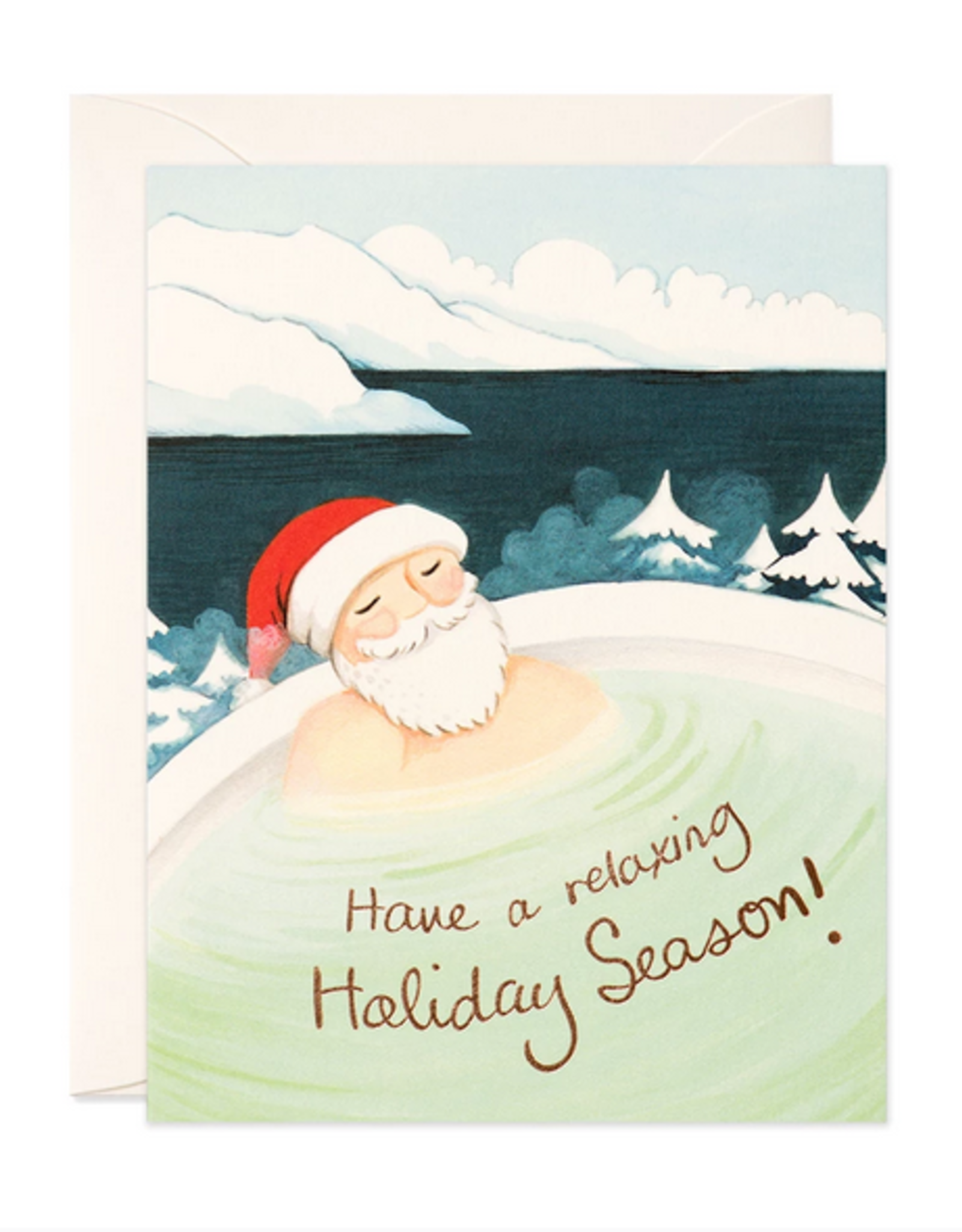 Hot Spring Santa Holiday Greeting Card