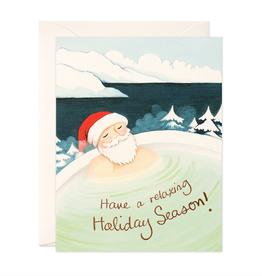Hot Spring Santa Holiday Greeting Card