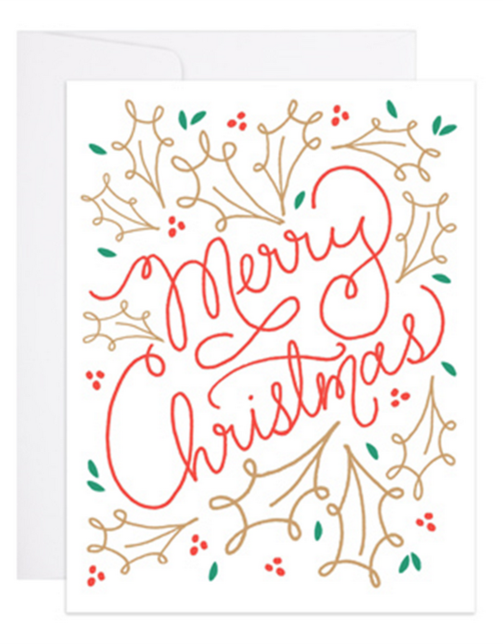 Merry Christmas! Gold Leaves Greeting Card