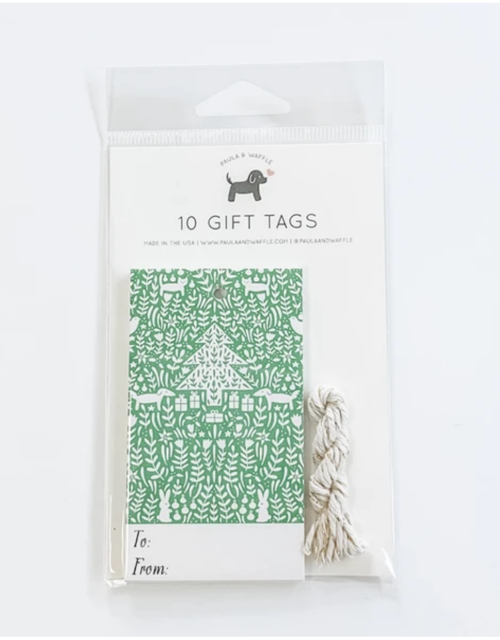 Green Christmas Scene Gift Tags Set of 10
