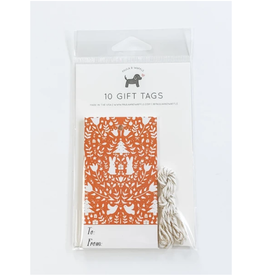 Red Christmas Scene Gift Tags Set of 10