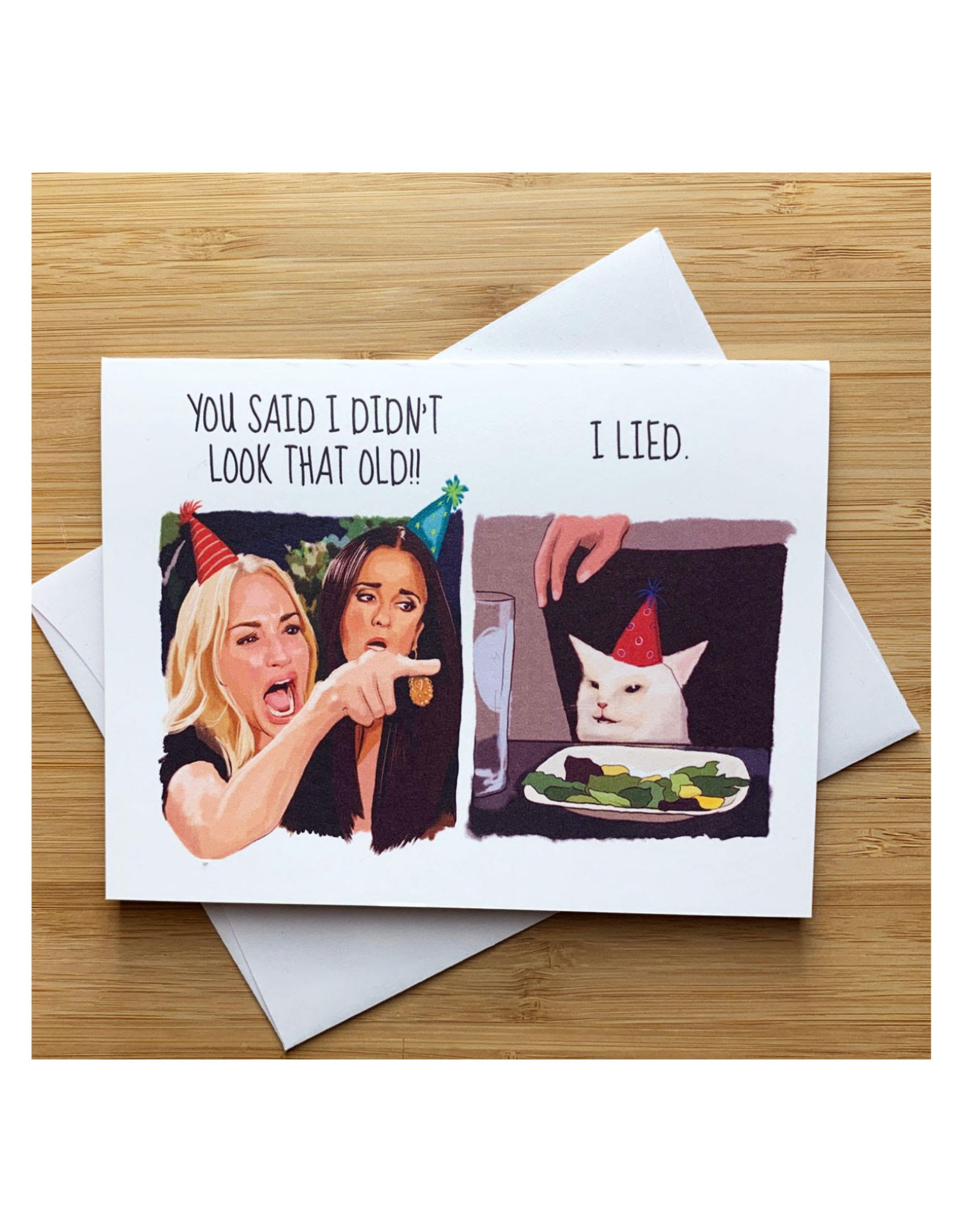 Angry Cat Lady Birthday Greeting Card