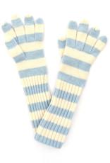 Long Lambswool Stripe Glove - Blue & White