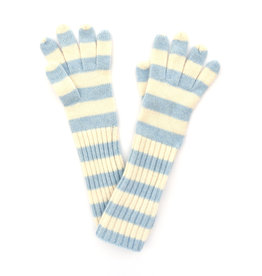 Long Lambswool Stripe Glove - Blue & White