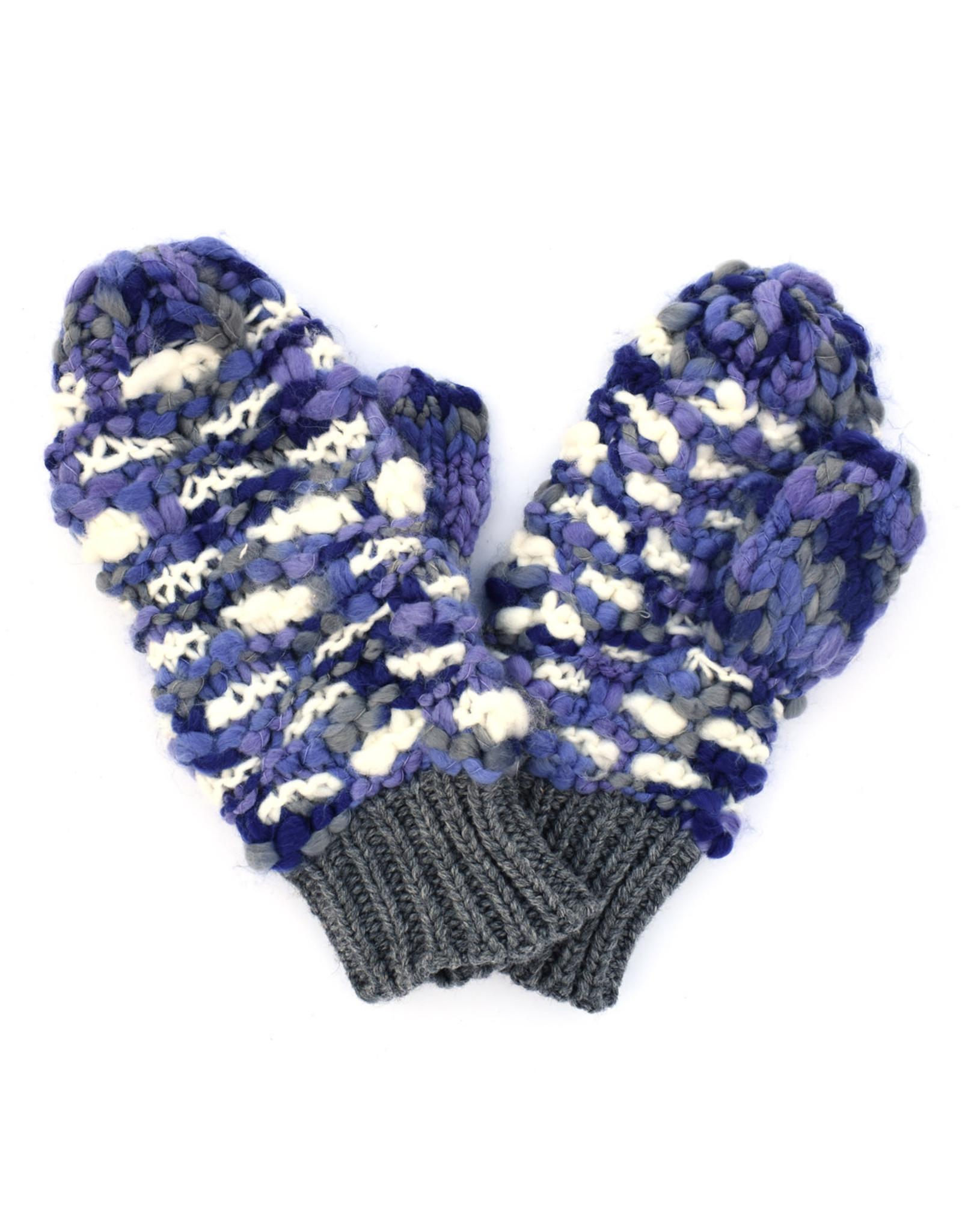 Hand Knitted Mitten - Blue