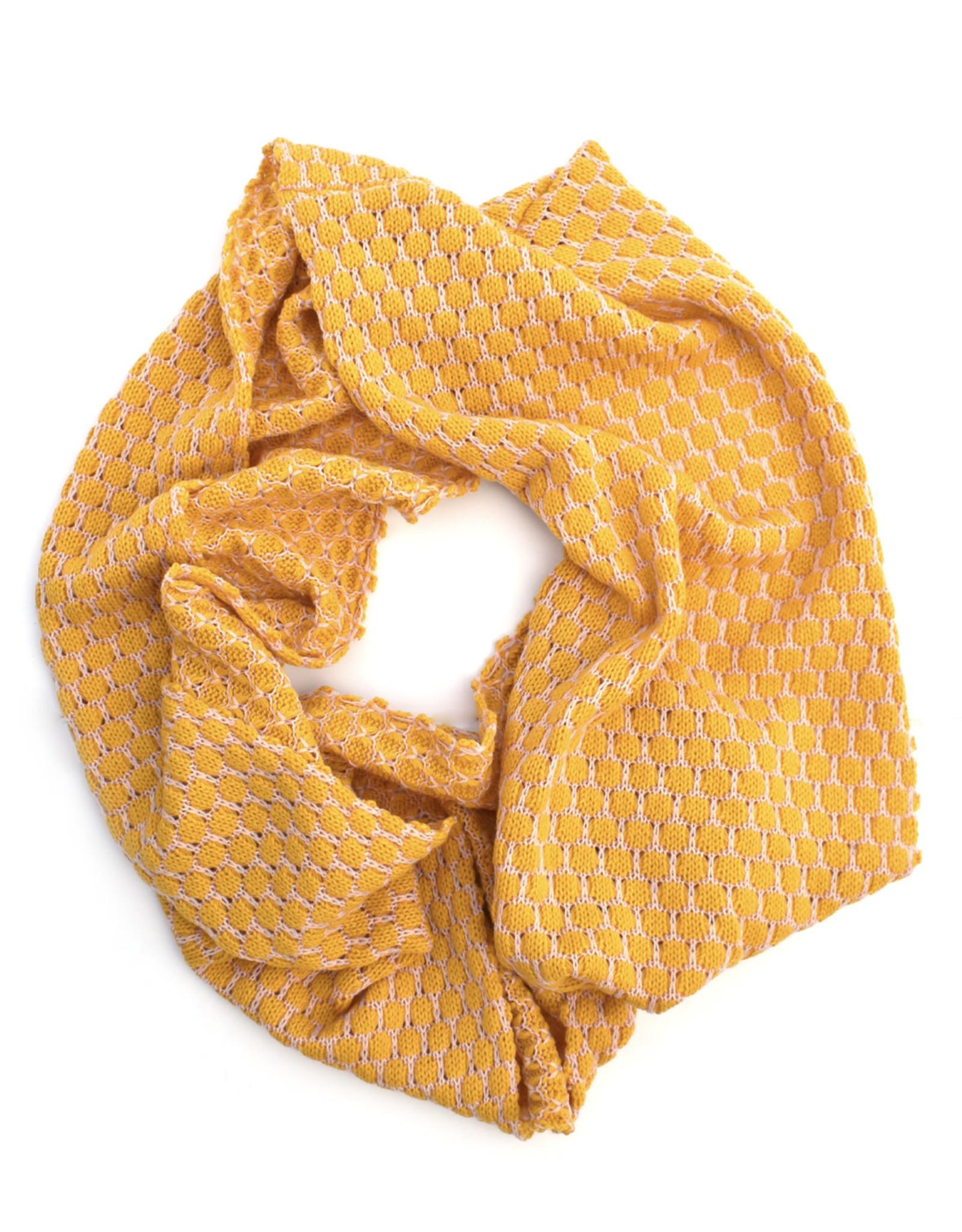 Honeycomb Infinity Scarf - Yellow