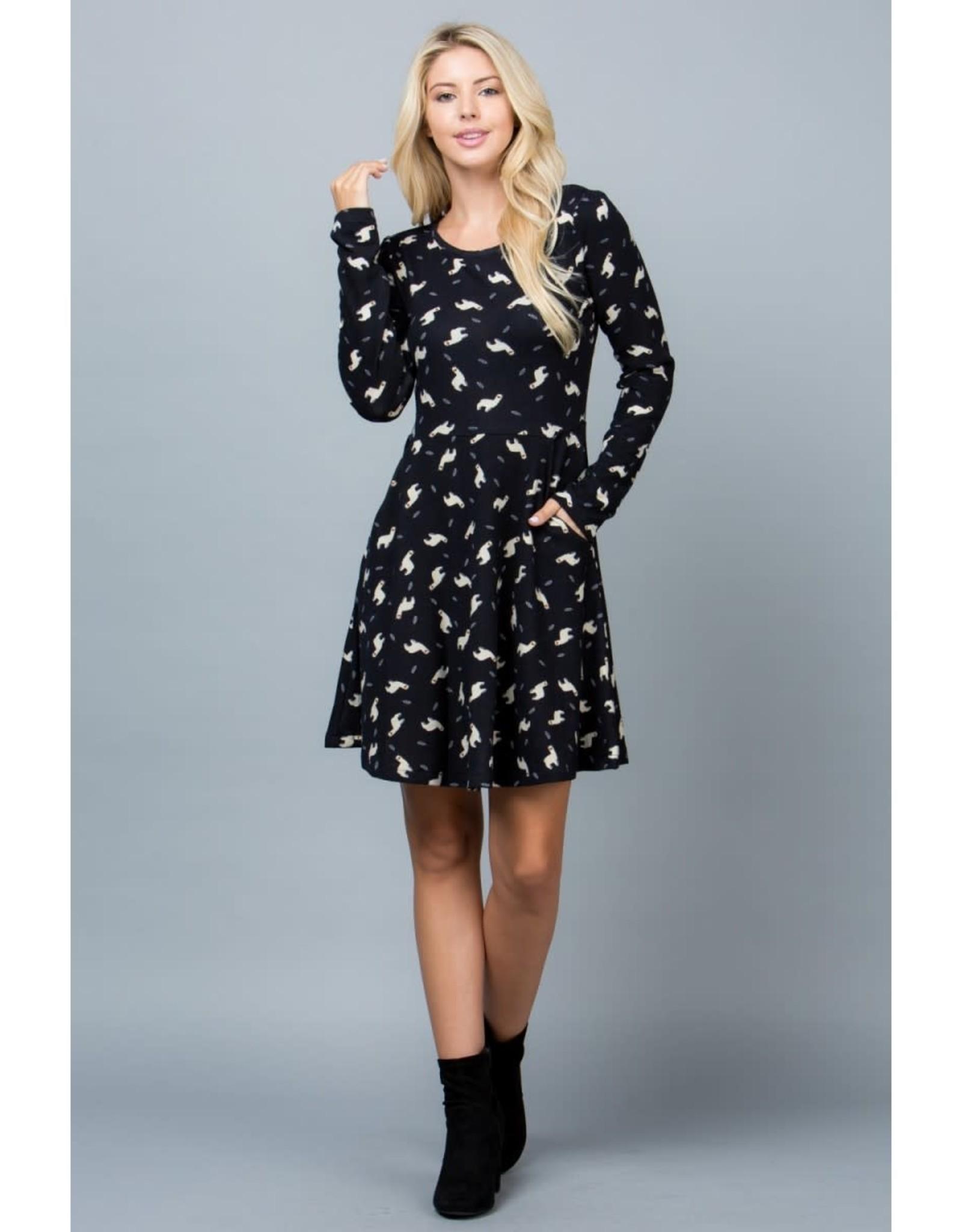 Llama Print Tunic Dress