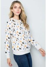 Colorful Cats Print Sweatshirt