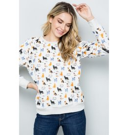 Colorful Cats Print Sweatshirt
