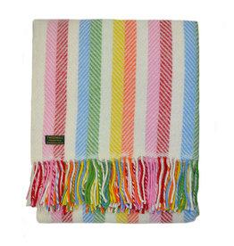 Birchwood Trading Co. Welsh Wool Throw - Rainbow Stripe