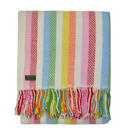Welsh Wool Throw - Rainbow Stripe