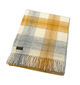 Welsh Wool Throw - Meadow Yellow Check