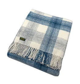 Welsh Wool Throw - Meadow Blue Check