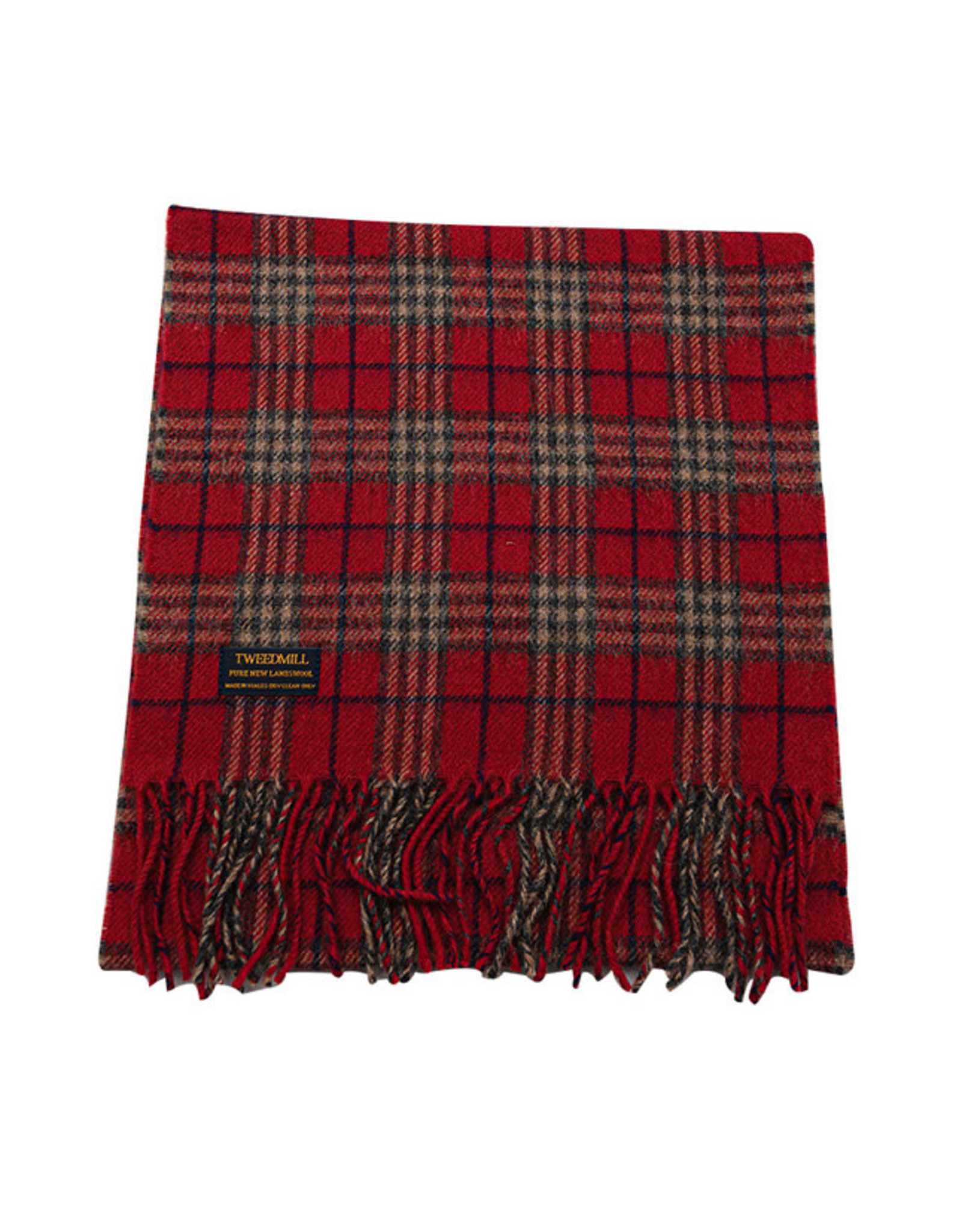 Lambswool Fring Scarf - Country Check Ruby