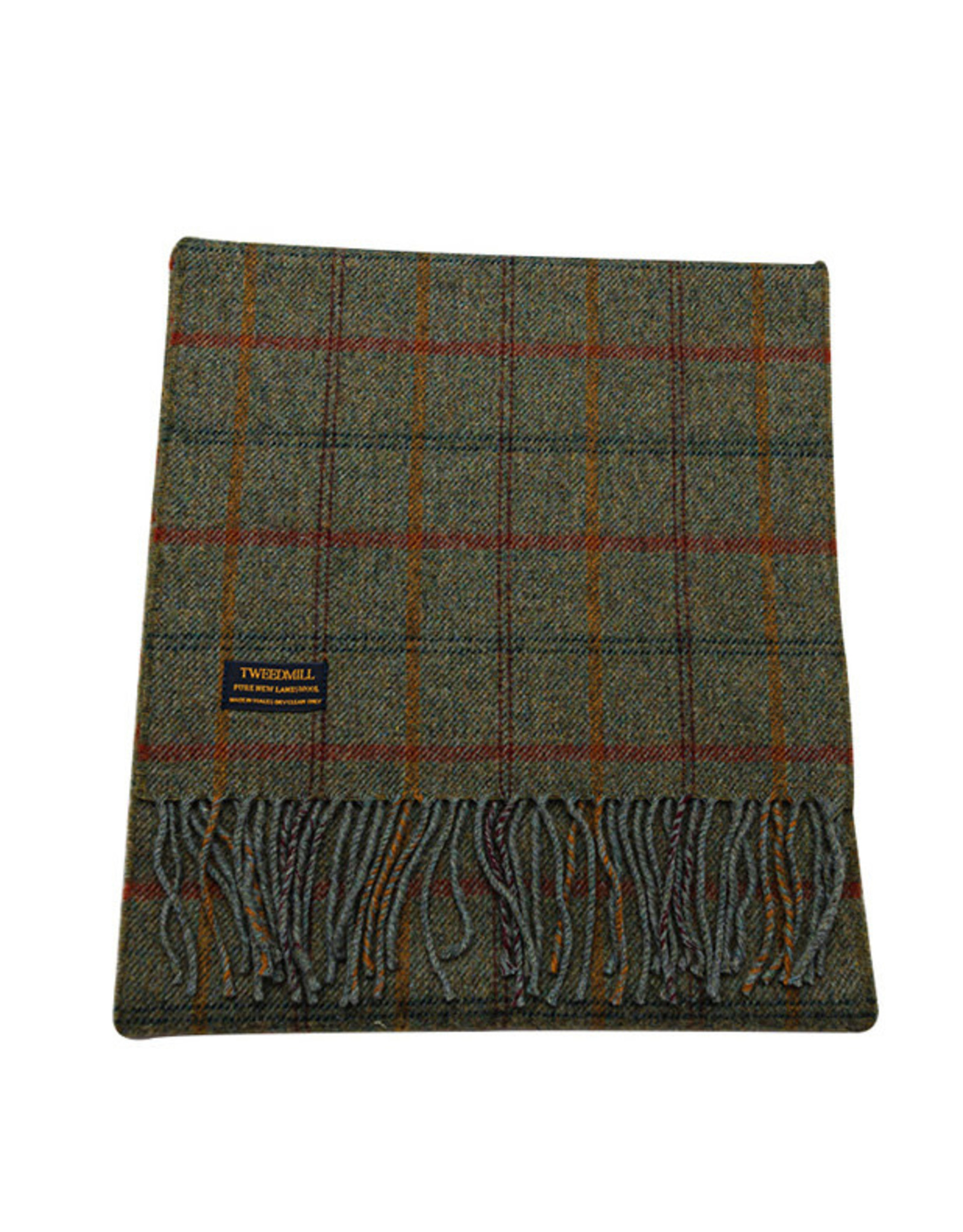 Lambswool Fring Scarf - Country Check Sage