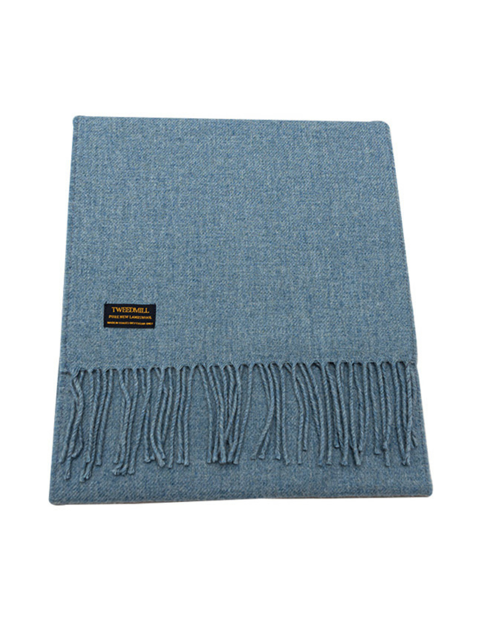 Lambswool Fring Scarf - Stone Blue