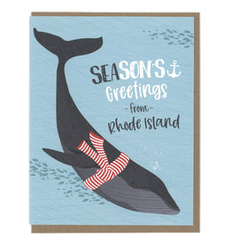 SEAsons Greeting's From RI Whale Greeting Card