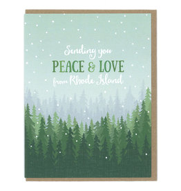Peace & Love From RI (Trees) Greeting Card