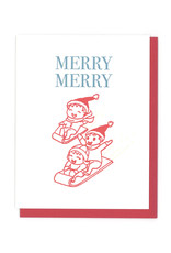 Merry Merry Sledding Greeting Card