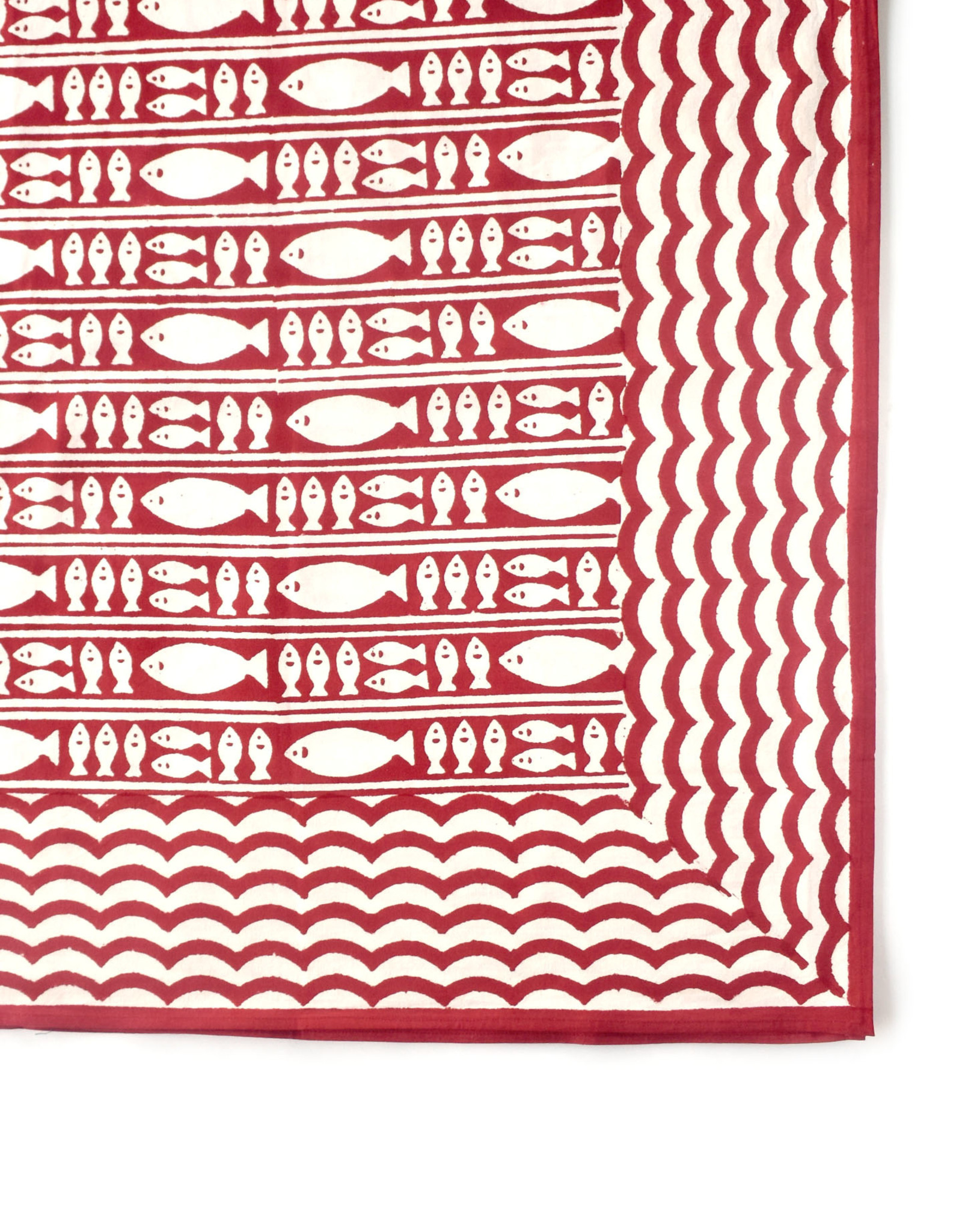 Red Striped Fish Tablecloth
