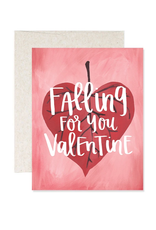 Falling For You Valentine Greeting Card