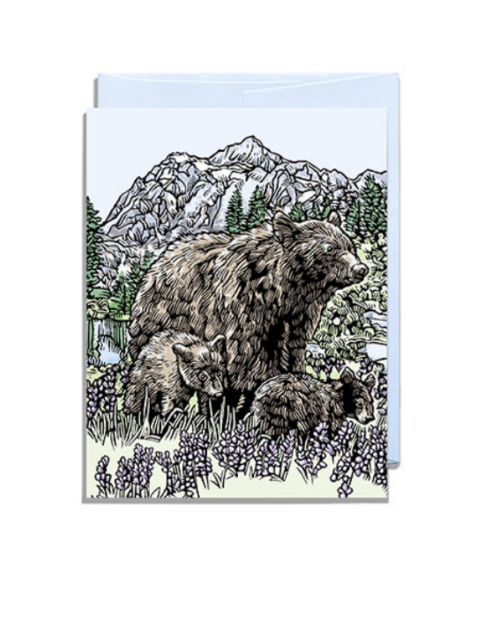 Bear and Cubs Greeting Card
