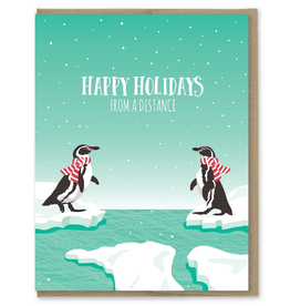 Holidays From a Distance Penguins Greeting Card